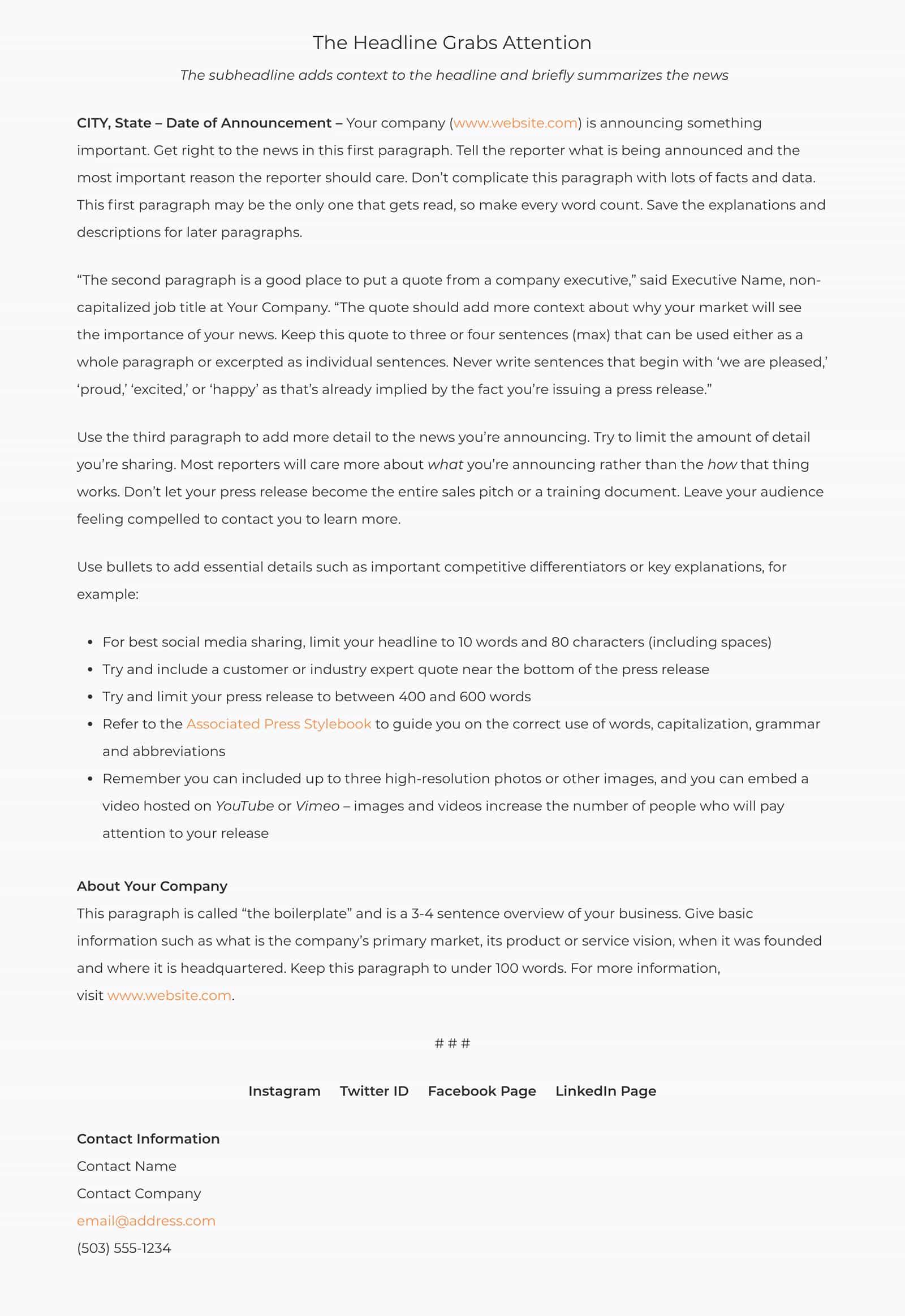 vWire Press Release Sample